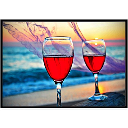 ting Wall Arts 5D DIY Diamond Abstract Red Wine Glass Painting Embroidery Part Round Diamond Home Interior Decor Gift (D) ()