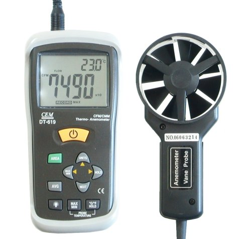 Ruby Electronics DT-619 Digital CFM CMM Thermometer Anemometer Vane Wind Velocity Air Flow Meter by Ruby Electronics (Image #3)