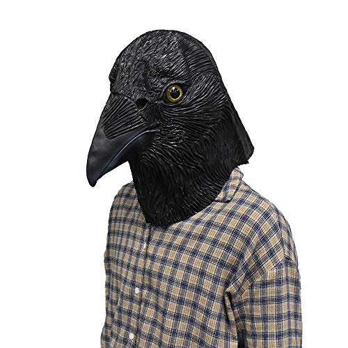 Crow Mask Bird Head Latex Mask Animal Halloween Costume Cosplay Mask Face Disguise for Adult Black]()