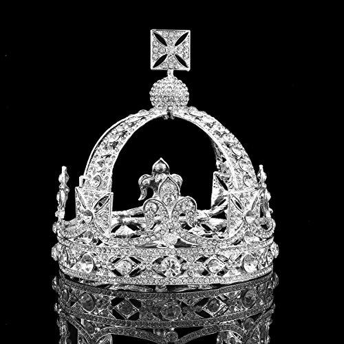 FUMUD Luxury Vintage Gold Wedding Crown Alloy Bridal Tiara Baroque Queen King Crown (Silver) (Crown Mine Silver)
