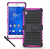 Sony Xperia Z3+ / Z3 Plus (Z4 in Japan) Skin Hybrid Dual Layer Defender Protective Case Cover with Kickstand (Hard Plastic with Soft TPU) Sony Xperia Z3+ / Z3 Plus (Z4 in Japan) with a OEAGO Stylus Pen (Sony Xperia Z3+ / Z3 Plus (Z4 in Japan), Rose)