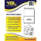 "YBL Labels - Half Sheet Labels - Shipping / Mailing Labels - 5-1/2"" x 8-1/2"" Labels - 200 Labels"