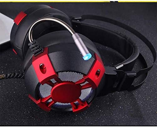 HNSYDS カラフルな光ケーブルのゲーミングヘッドセットヘッドマウント調整可能なボディ調節可能なイヤークッション、快適で通気性 ゲーミングヘッドセット