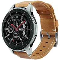 Pulseira de Couro Samsung Galaxy Watch 46mm / Samsung Gear S3 Frontier Classic/Gear 2 R380 R381 R382 / Moto 360 2nd Gen 46mm - Marrom