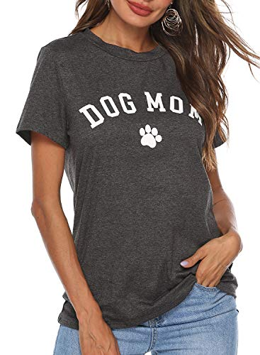 Heymiss Dog Mom T Shirts for Women Short Sleeve Graphic Tees Letter Print Round Neck Tops Dark Gray - Dog Tee T-shirt