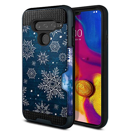 - FINCIBO Case Compatible with LG V40 ThinQ 6.4 inch, Dual Layer Brushed Hybrid Protector Cover Anti Shock TPU Blue Metallic Sheen Card Wallet For LG V40 ThinQ - Blue Winter Christmas Snowflake