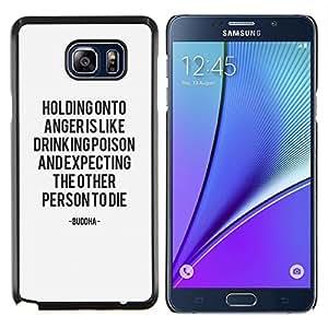 Problema La ira Texto Mantener la calma motivación- Metal de aluminio y de plástico duro Caja del teléfono - Negro - Samsung Galaxy Note5 / N920