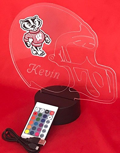 Wisconsin Badgers NCAA College Football Helmet Light Lamp Light Up Table Lamp LED with Remote, Our Newest Feature - It's Wow, with Remote 16 Color Options, Dimmer, Free Engraving, Great Gift