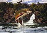 Ceramic Tile Mural - Brook Trout 2 - by John Rice - Kitchen backsplash / Bathroom shower
