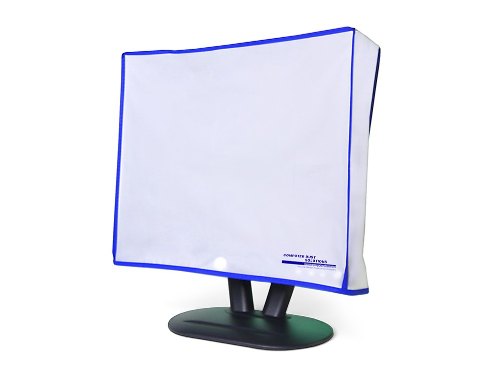 Computer monitor dust cover for flat panel LCD-silky smooth anti-static vinyl with blue trim (26W x18H x4D)