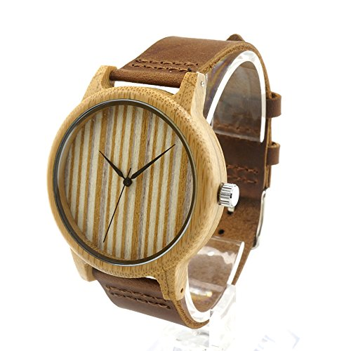 - Men Women Bamboo Wood Quartz Watches With Scale Soft Leather Straps Casual Wrist Watches(Style-2)