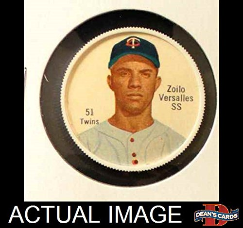 Salada Baseball Coins (1962 Salada Coins # 51 RED Zoilo Versalles Minnesota Twins (Baseball Card) (Red Buttons on Shirt) Dean's Cards 3 - VG)