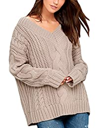Women Loose V Neck Oversized Knitted Baggy Sweater Pullover