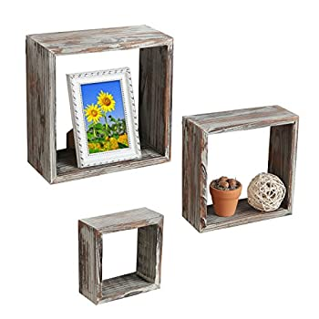 Set of 3 Brown Torched Wood Finish Wall Mounted Square Floating Shelf Display Shadow Boxes / Shelves - MyGift