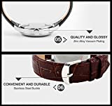 Mens-Unique-Roman-Numeral-Fashion-Design-Quartz-Analog-Waterproof-Wrist-Business-Casual-Watch-with-Stainless-Steel-Case-98ft-30M-3ATM-Water-Resistant-Comfortable-PU-Leather-Band-Brown