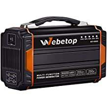 Webetop Portable Generators Power Inverter Battery 250W 60000mAh 222Wh Camping Emergency Home Power Source Charged by Solar Panel/ Wall Outlet/ Car with 2 110V AC Outlet, 4 DC 12V, 2 USB Port