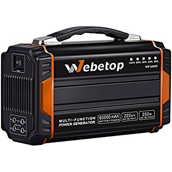 Webetop Portable Generators Power Inverter Battery 250W 60000mAh Camping CPAP Emergency Home Use UPS Power Source Charged by Solar Panel/ Wall Outlet/ Car with 2 110V AC Outlet, 4 DC 12V, 2 USB Port