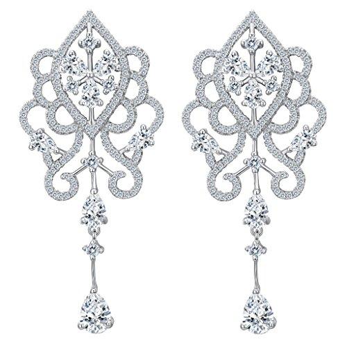 EVER FAITH Women's 925 Sterling Silver CZ Vintage Style Floral Tear Drop Chandelier Dangle Earrings Clear