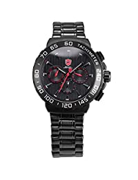 BLACKNOSE SHARK Men Quartz Day Date Display Watch Black Stainless Steel Band Wristwatch SH379