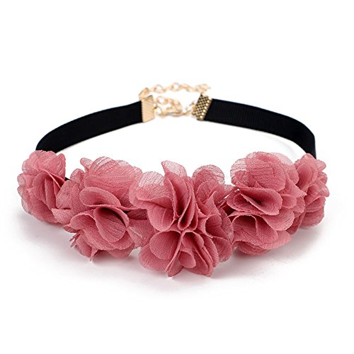 Pink Natural Flower Chocker Leather Necklace Bridal Jewelry Gift For Women Girl