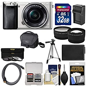 Sony Alpha A6000 Wi-Fi Digital Camera & 16-50mm Lens (Silver) with 32GB Card + Case + Battery/Charger + Tripod + Tele…