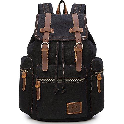 Canvas Backpacks Vintage Rucksack Casual Leather Army Kipling Knapsack 21L Black #220