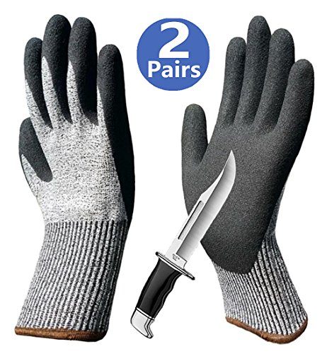 Cut Resistant Gloves Sleeves for Hands & Arm Protection, Palm Grip Coated Breathable Work Gloves, Ideal for Garden Construction Glass Handing Mechanic Car Repairing Medium Duty Multipurpose Use. by Hanhelp