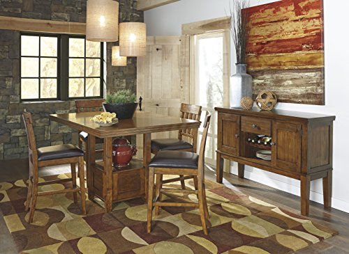 Ralerrine Medium Brown Formal Dining Set, Counter Table and 4 Upholsteredolstered Barstool, Server