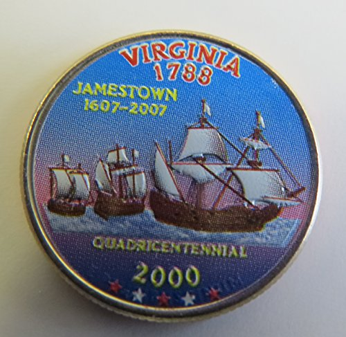 (2000 Various Mint Marks Virginia State Colorized Quarter Choice Uncirculated)
