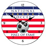 Soccer Hall of Fame Wall Clock, Available in 8 sizes, Most Sizes Ship 2 - 3 days, Whisper Quiet.