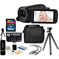 Canon VIXIA HF R700 57x Zoom Full HD 1080p Video IS Digital Camcorder (Black) + 64GB Card + Case + Tripod + Digital Camera Cleaning Kit