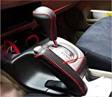 2006 gear shift knob - Salusy Black Leather Red Thread Gear Shift Knob Cover+Handbrake Cover For Honda Civic 2006-2008