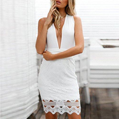 Robe TMLes Manches Blanc Bodycon Robe Femmes MuSheng Couture Paquet Profonde Dentelle Bohme v sans Hip Collar Sexy Dentelle HqFgzxw