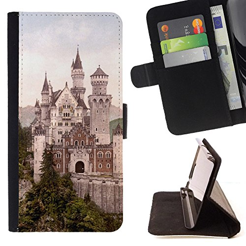 God Garden - FOR Apple Iphone 5 / 5S - Neuschwanstein Castle - Glitter Teal Purple Sparkling Watercolor Personalized Design Custom Style PU Leather Case Wallet Fli