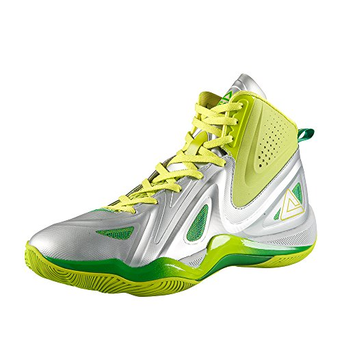 Peak Mens Challenger II High-Top Basketball Shoes Silver/Acid Green 0CdTc
