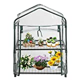 SHZONS Greenhouse, Greenhouse Replacement Cover,PVC 2 Tier Mini Walk-In Garden Cover for Outdoor Indoor Herb Flower Plants Garden Balcony,27.17×19.29×36.22 inch