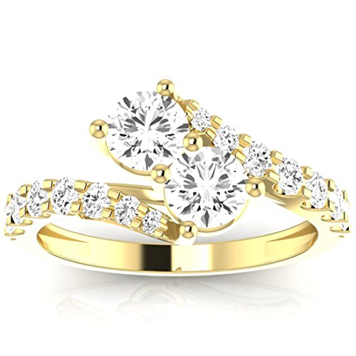 1 1/2 Carat t.w. Twisting Pave Set 2rue Love 2 Stone Collection Round 14K Yellow Gold Diamond Engagement Ring (H-I Color, SI2-I1 ClarityCenter Stones) (I Carat Diamond Ring)