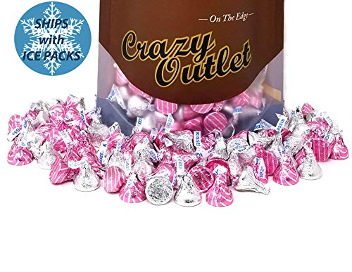 Hershey's Kisses Milk Chocolate Hugged by White Creme and Milk Chocolate, Silver and Pink Silver Striped Assorted Candy, 2 lbs