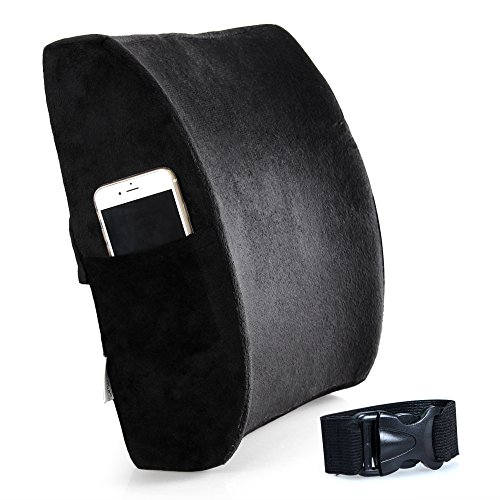 Cozy Hut Ventilated Bamboo Charcoal Infused Memory Foam Lumbar Pillow for Home/Office Chairs Driver Car Seat Back Support Orthopedic Design Cushion Lower Back Pain Relief, Black