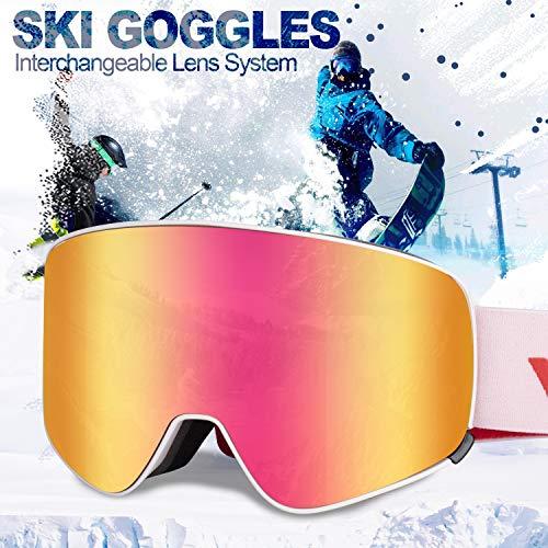 Ski Goggles Men Youth Boys Women and Girls Anti Fog Snowboard Goggles UV400 ATV Snow Skiing Ski Glasses OTG Over-The-Glasses Interchangeable Lens Flexible Soft TPU Frame Helmet Compatible, 6 colors (Atv Boys)