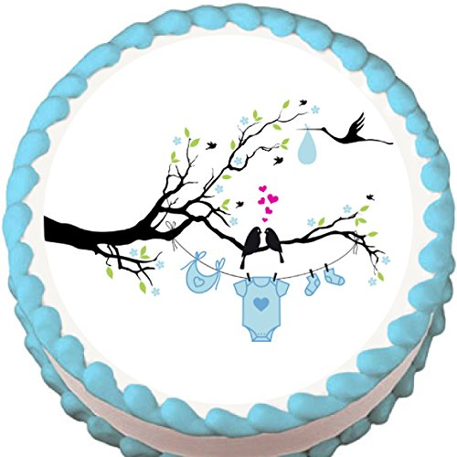 Love Birds Boy Baby Shower Edible Cake Topper