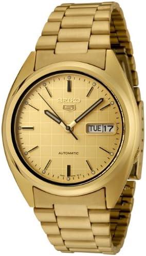 Seiko Men s SNXL72 Seiko 5 Automatic Gold Dial Gold-Tone Stainless Steel Watch
