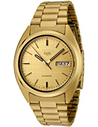 Mens SNXL72 Seiko 5 Automatic Gold Dial Gold-Tone Stainless Steel Watch