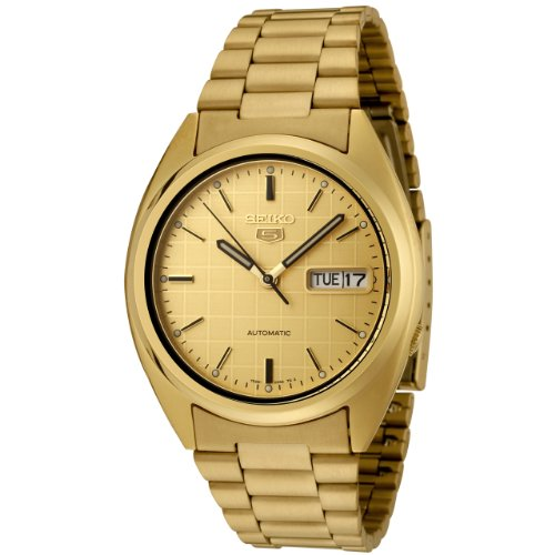 Seiko-Mens-SNXL72-Seiko-5-Automatic-Gold-Dial-Gold-Tone-Stainless-Steel-Watch