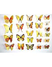 ديكورات حائط فراشات ثلاثي الأبعاد لون أصفر وبرتقالي
