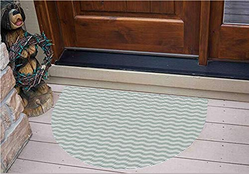3D Semicircle Floor Stickers Personalized Floor Wall Sticker Decals,Lines Bold Stripes Ocean Waves Inspired Pattern,Kitchen Bathroom Tile Sticker Living Room Bedroom Kids Room Decor Art Mural D39.4