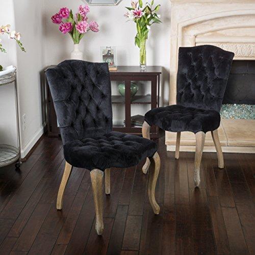 - Christopher Knight Home 296553 Moira Black New Velvet Dining Chairs (Set of 2),