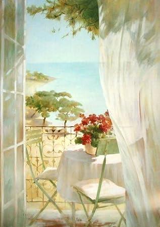 tableau prêt - Fabrice de Villeneuve: seaside terrasse 70 x 100 cm ...