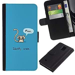 eJoy---La carpeta del tirón la caja de cuero de alta calidad de la PU Caso protector - Samsung Galaxy Note 4 IV - --Cat Grey Long Tail Funny Quote Art