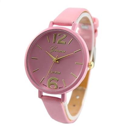 Relojes Pulsera Mujer,Xinan Ginebra Imitación Cuero de Cuarzo Analógico Relojes (Rosa)